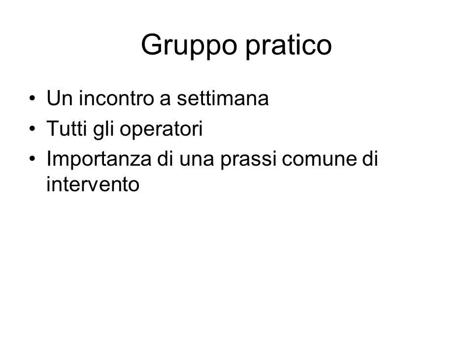 Gruppo pratico Un incontro a settimana Tutti gli operatori Importanza di una prassi comune di intervento