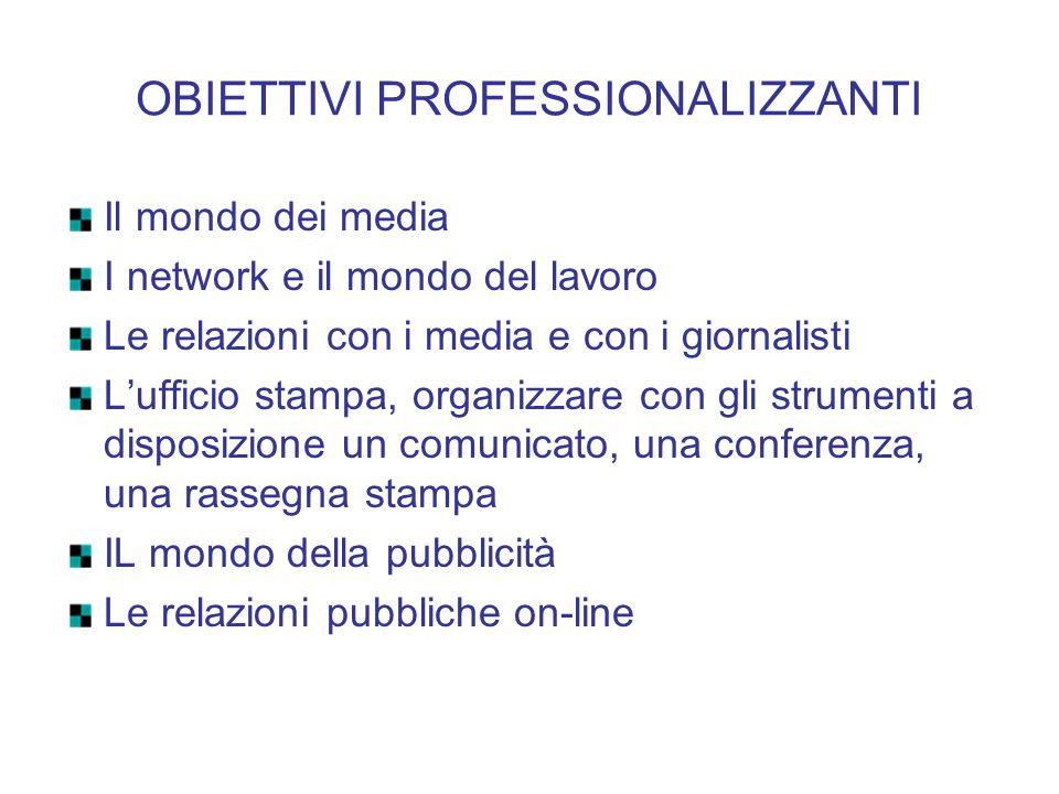 OBIETTIVI PROFESSIONALIZZANTI Il mondo dei media I network e il mondo del lavoro Le relazioni con i media e con i giornalisti L'ufficio stampa, organi