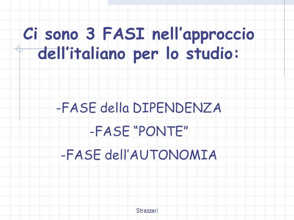 Strazzari Ci sono 3 FASI nell'approccio dell'italiano per lo studio: -FASE della DIPENDENZA -FASE PONTE -FASE dell'AUTONOMIA
