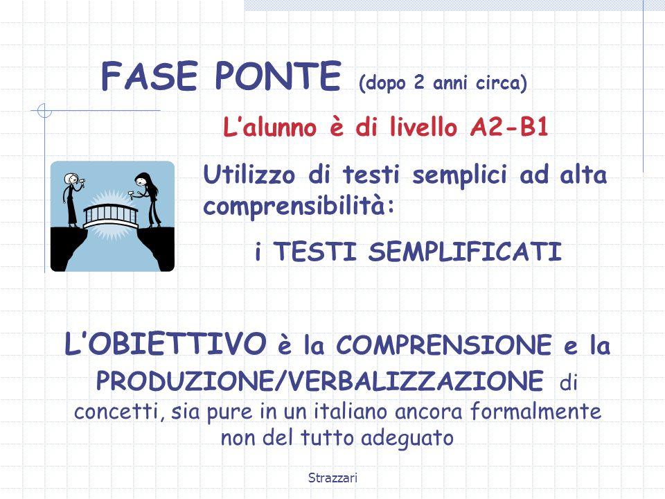 Strazzari FASE PONTE (dopo 2 anni circa) L'alunno è di livello A2-B1 Utilizzo di testi semplici ad alta comprensibilità: i TESTI SEMPLIFICATI L'OBIETTIVO è la COMPRENSIONE e la PRODUZIONE/VERBALIZZAZIONE di concetti, sia pure in un italiano ancora formalmente non del tutto adeguato
