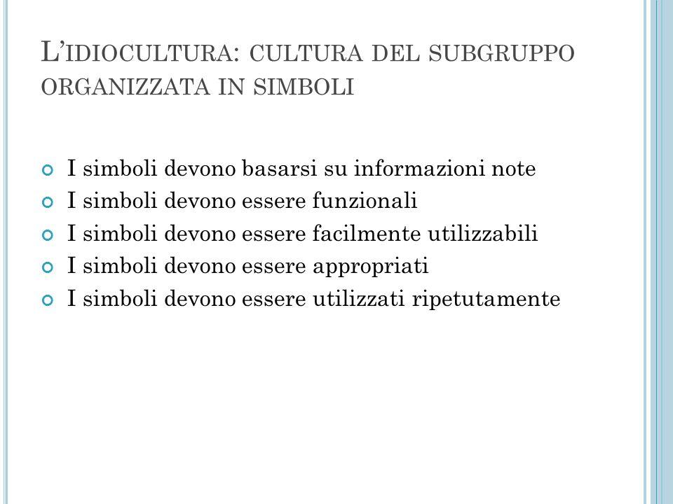 L' IDIOCULTURA : CULTURA DEL SUBGRUPPO ORGANIZZATA IN SIMBOLI I simboli devono basarsi su informazioni note I simboli devono essere funzionali I simbo