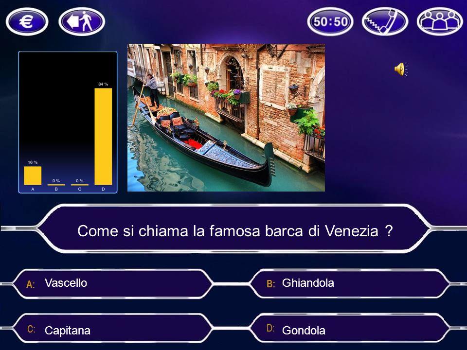 Come si chiama la famosa barca di Venezia ? Gondola Vascello