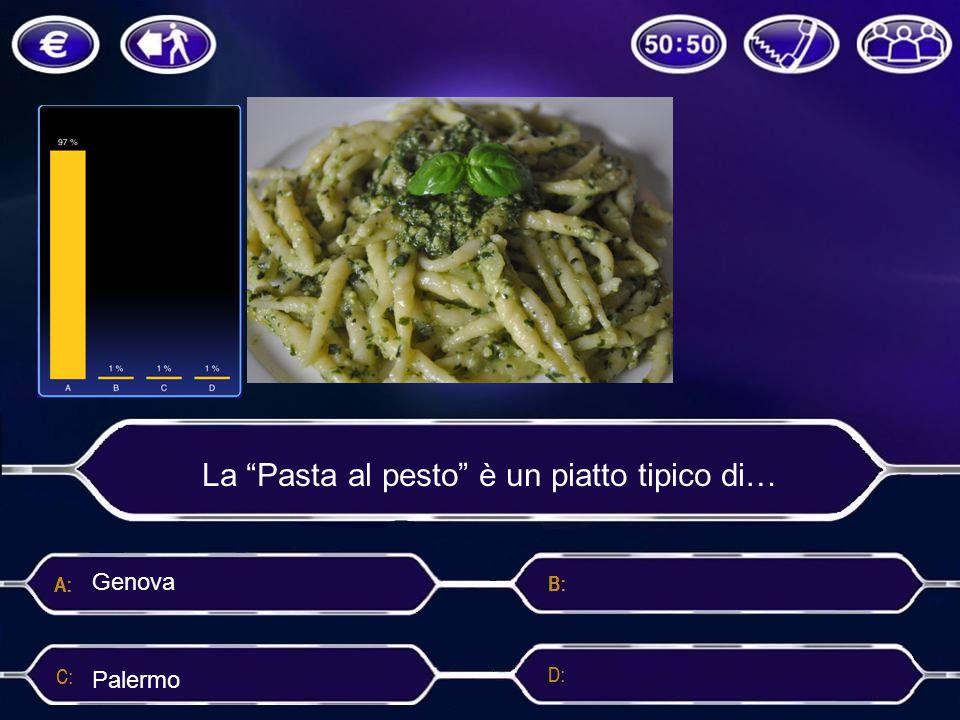 """La """"Pasta al pesto"""" è un piatto tipico di… Roma PalermoNapoli Genova"""