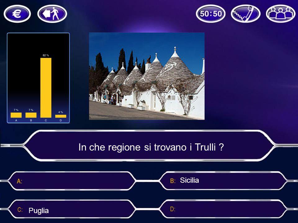 In che regione si trovano i Trulli ? Sicilia PugliaVeneto Toscana