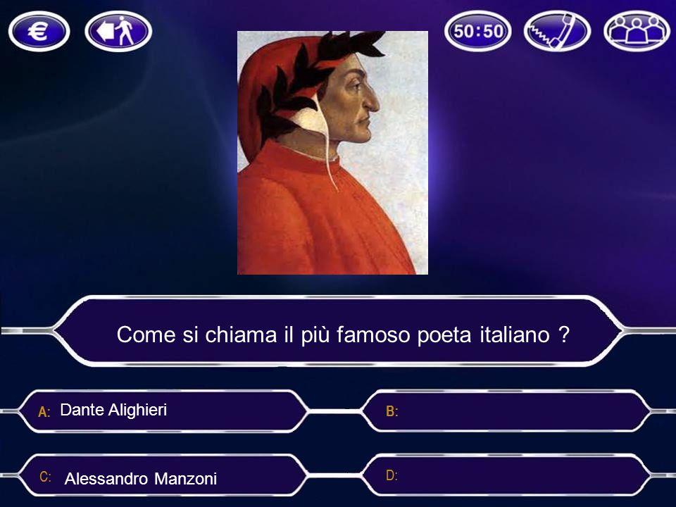 Come si chiama il più famoso poeta italiano ? Marco Polo Alessandro ManzoniVasco Rossi Dante Alighieri