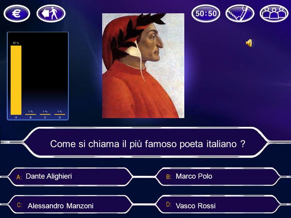 Come si chiama il più famoso poeta italiano ? Alessandro Manzoni Dante Alighieri