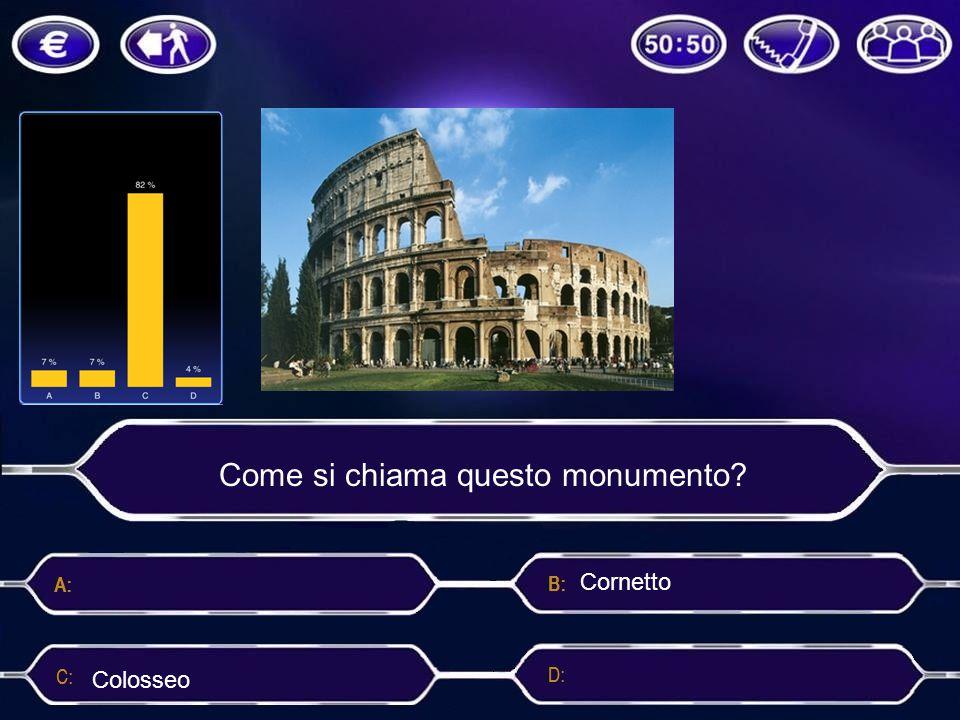 Come si chiama questo monumento? Cornetto ColosseoRoma Colosso