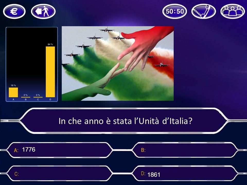In che anno è stata l'Unità d'Italia? 1776 1861