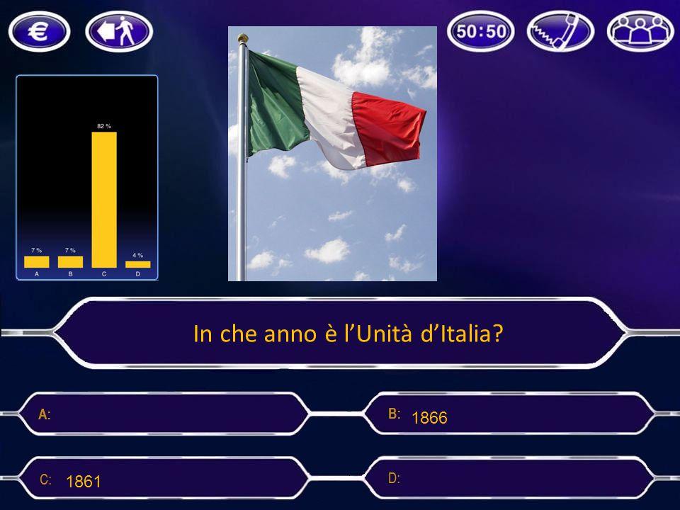 In che anno è l'Unità d'Italia? 1870 1866 18611860