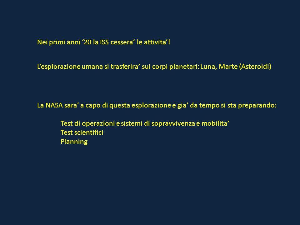 Nei primi anni '20 la ISS cessera' le attivita'! L'esplorazione umana si trasferira' sui corpi planetari: Luna, Marte (Asteroidi) La NASA sara' a capo