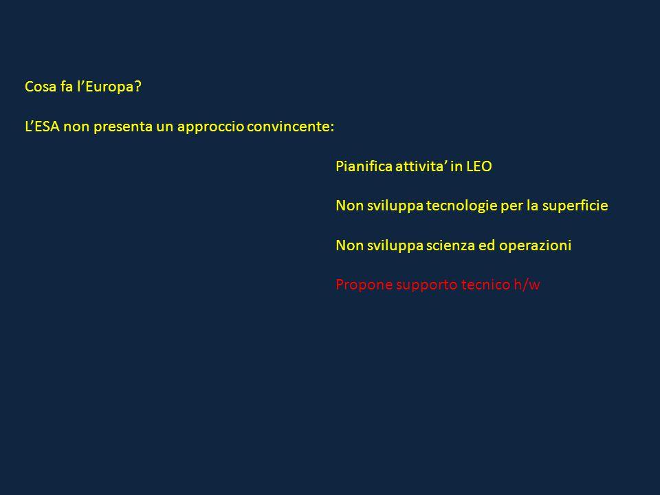 Cosa fa l'Europa? L'ESA non presenta un approccio convincente: Pianifica attivita' in LEO Non sviluppa tecnologie per la superficie Non sviluppa scien