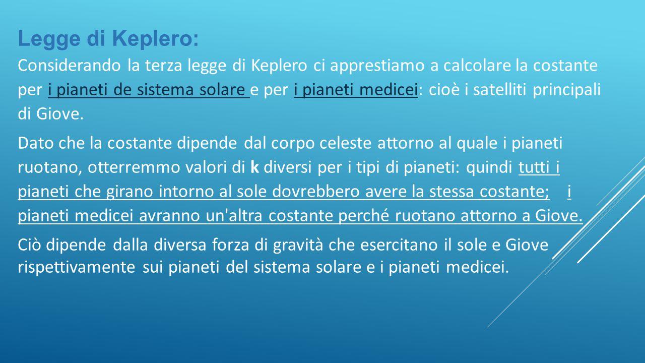 Legge di Keplero: Considerando la terza legge di Keplero ci apprestiamo a calcolare la costante per i pianeti de sistema solare e per i pianeti medicei: cioè i satelliti principali di Giove.i pianeti de sistema solare i pianeti medicei Dato che la costante dipende dal corpo celeste attorno al quale i pianeti ruotano, otterremmo valori di k diversi per i tipi di pianeti: quindi tutti i pianeti che girano intorno al sole dovrebbero avere la stessa costante; i pianeti medicei avranno un altra costante perché ruotano attorno a Giove.