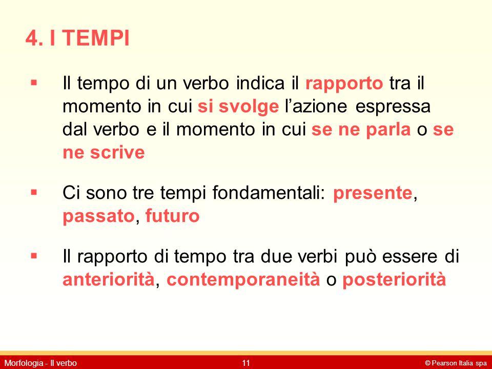© Pearson Italia spa Morfologia - Il verbo11 4. I TEMPI  Il tempo di un verbo indica il rapporto tra il momento in cui si svolge l'azione espressa da