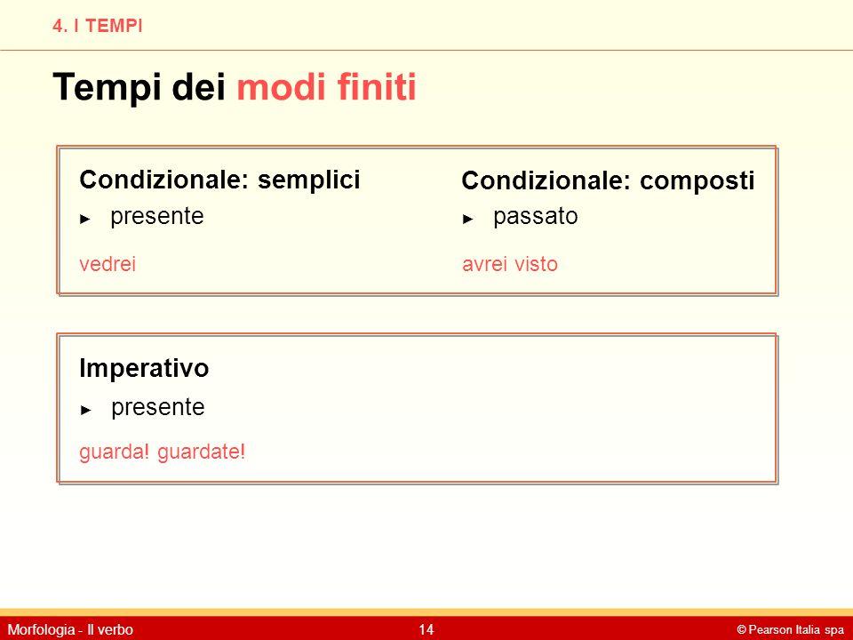 © Pearson Italia spa Morfologia - Il verbo14 4. I TEMPI Tempi dei modi finiti Condizionale: semplici Imperativo ► presente vedrei Condizionale: compos