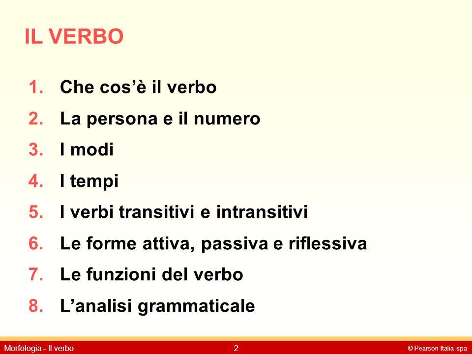 © Pearson Italia spa Morfologia - Il verbo2 IL VERBO 1.Che cos'è il verbo 2.La persona e il numero 3.I modi 4.I tempi 5.I verbi transitivi e intransit