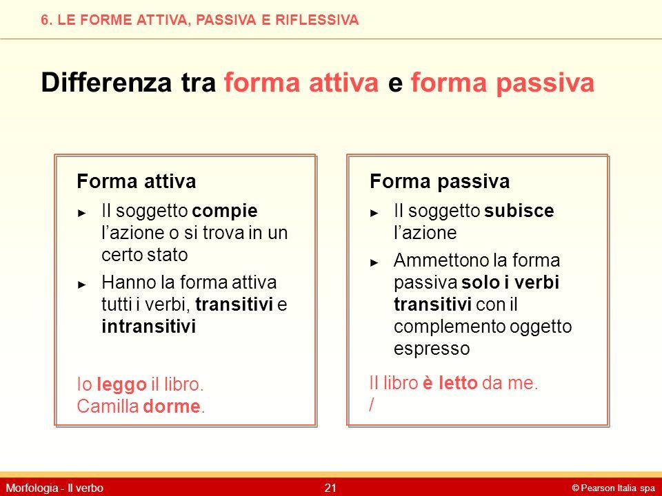 © Pearson Italia spa Morfologia - Il verbo21 6. LE FORME ATTIVA, PASSIVA E RIFLESSIVA Differenza tra forma attiva e forma passiva Forma attivaForma pa