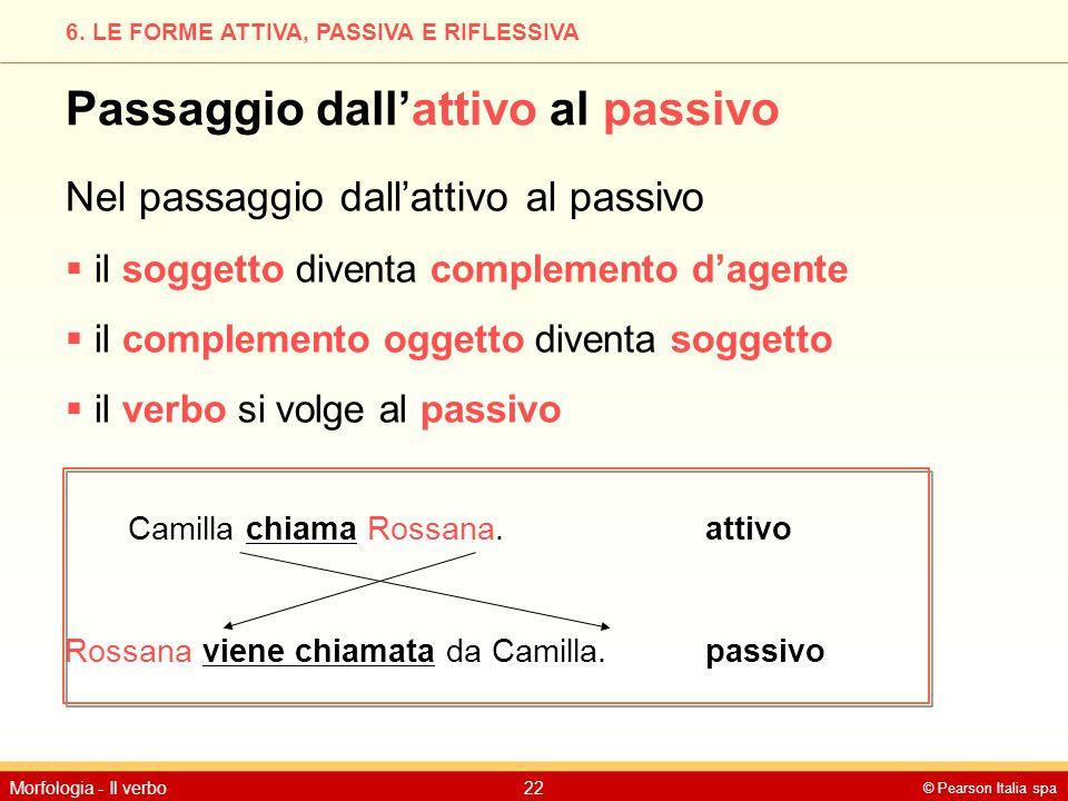 © Pearson Italia spa Morfologia - Il verbo22 6. LE FORME ATTIVA, PASSIVA E RIFLESSIVA Passaggio dall'attivo al passivo Nel passaggio dall'attivo al pa