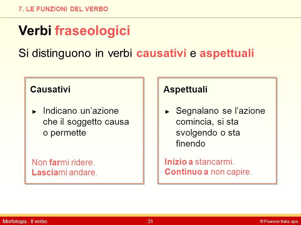 © Pearson Italia spa Morfologia - Il verbo31 7. LE FUNZIONI DEL VERBO Verbi fraseologici Si distinguono in verbi causativi e aspettuali CausativiAspet