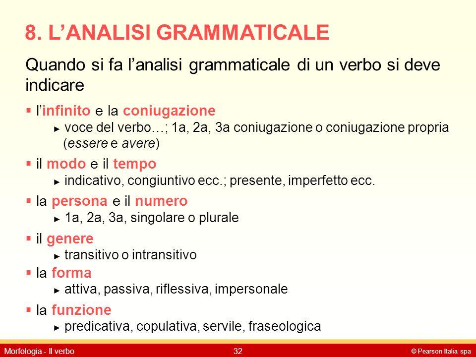 © Pearson Italia spa Morfologia - Il verbo32 8. L'ANALISI GRAMMATICALE Quando si fa l'analisi grammaticale di un verbo si deve indicare  l'infinito e