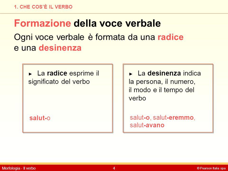 © Pearson Italia spa Morfologia - Il verbo4 1. CHE COS'È IL VERBO Formazione della voce verbale Ogni voce verbale è formata da una radice e una desine