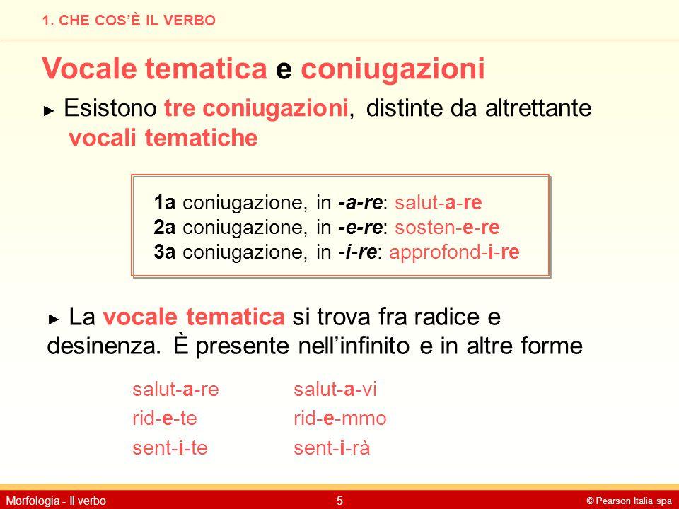 © Pearson Italia spa Morfologia - Il verbo5 1. CHE COS'È IL VERBO Vocale tematica e coniugazioni ► Esistono tre coniugazioni, distinte da altrettante