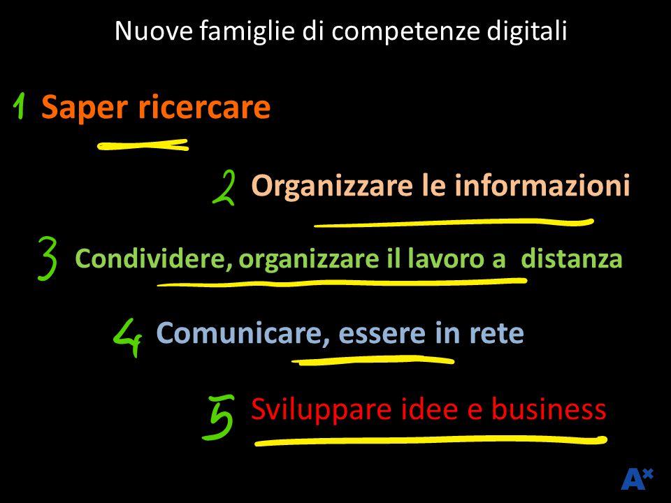 Nuove famiglie di competenze digitali Saper ricercare Organizzare le informazioni Condividere, organizzare il lavoro a distanza Comunicare, essere in rete Sviluppare idee e business