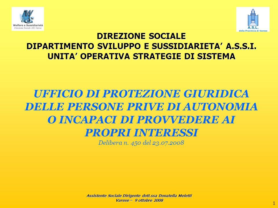 Assistente Sociale Dirigente dott.ssa Donatella Meletti Varese – 9 ottobre 2008 1 DIREZIONE SOCIALE DIPARTIMENTO SVILUPPO E SUSSIDIARIETA' A.S.S.I. UN