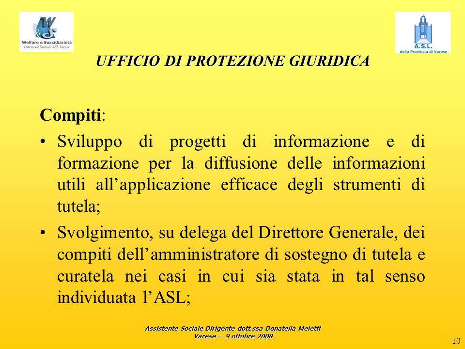 Assistente Sociale Dirigente dott.ssa Donatella Meletti Varese – 9 ottobre 2008 10 UFFICIO DI PROTEZIONE GIURIDICA Compiti: Sviluppo di progetti di in
