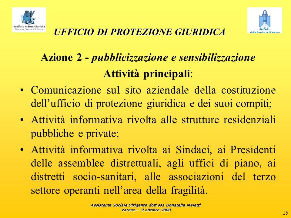 Assistente Sociale Dirigente dott.ssa Donatella Meletti Varese – 9 ottobre 2008 15 UFFICIO DI PROTEZIONE GIURIDICA Azione 2 - pubblicizzazione e sensi
