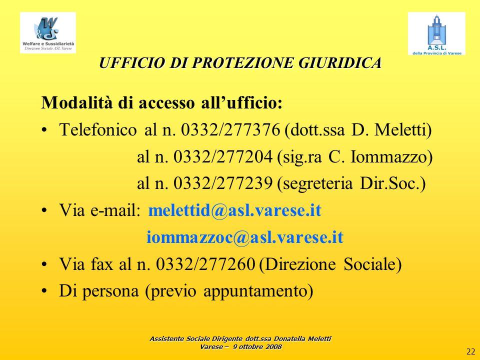 Assistente Sociale Dirigente dott.ssa Donatella Meletti Varese – 9 ottobre 2008 22 UFFICIO DI PROTEZIONE GIURIDICA Modalità di accesso all'ufficio: Te