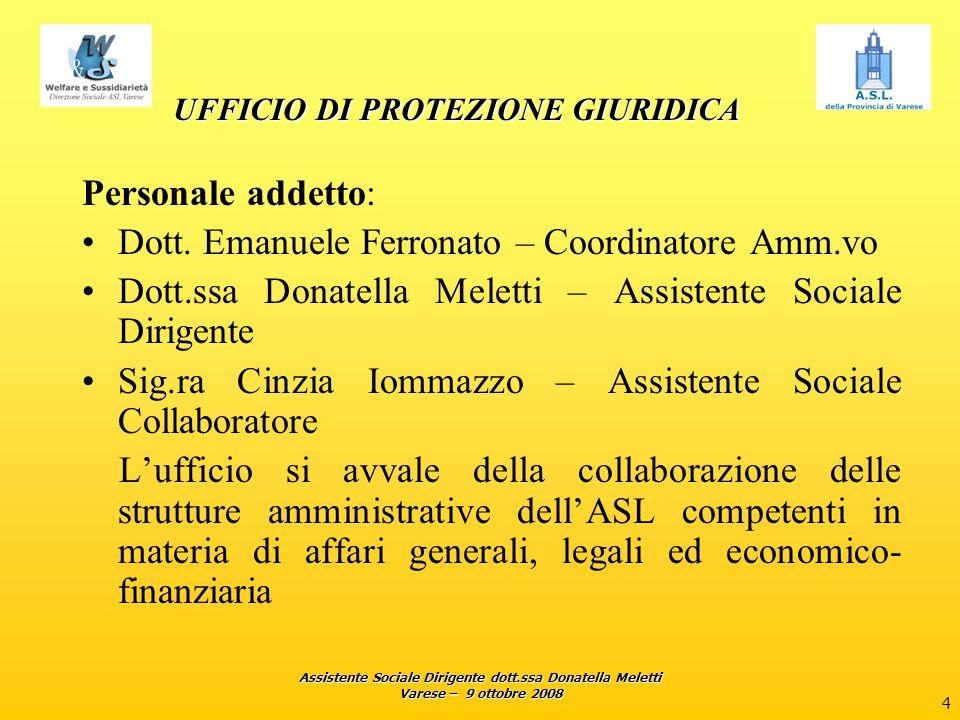 Assistente Sociale Dirigente dott.ssa Donatella Meletti Varese – 9 ottobre 2008 4 UFFICIO DI PROTEZIONE GIURIDICA Personale addetto: Dott. Emanuele Fe