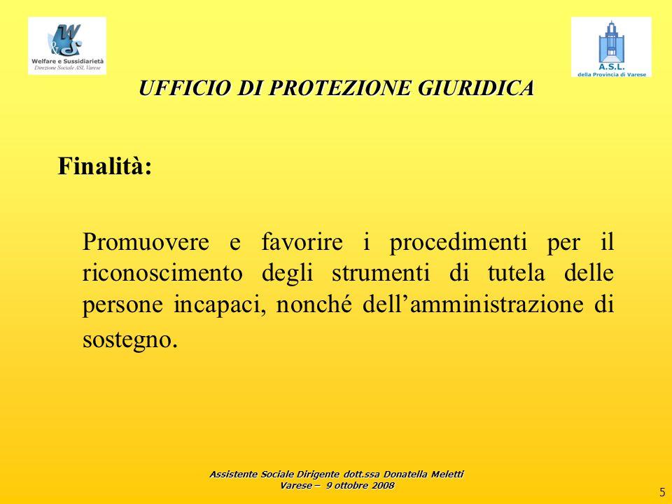 Assistente Sociale Dirigente dott.ssa Donatella Meletti Varese – 9 ottobre 2008 5 UFFICIO DI PROTEZIONE GIURIDICA Finalità: Promuovere e favorire i pr