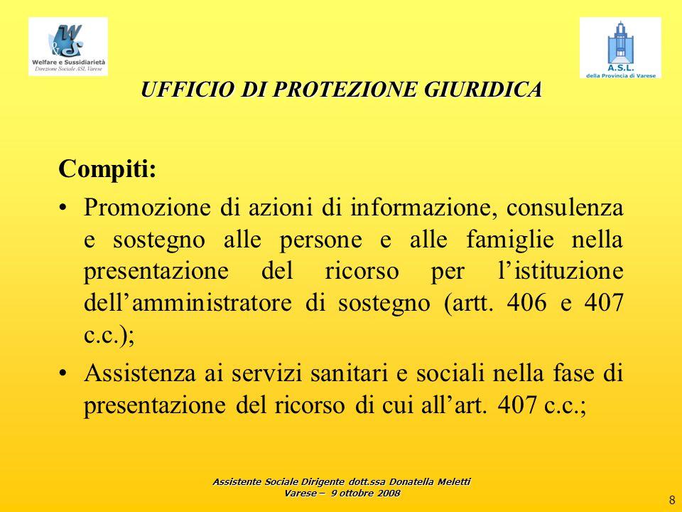Assistente Sociale Dirigente dott.ssa Donatella Meletti Varese – 9 ottobre 2008 8 UFFICIO DI PROTEZIONE GIURIDICA Compiti: Promozione di azioni di inf