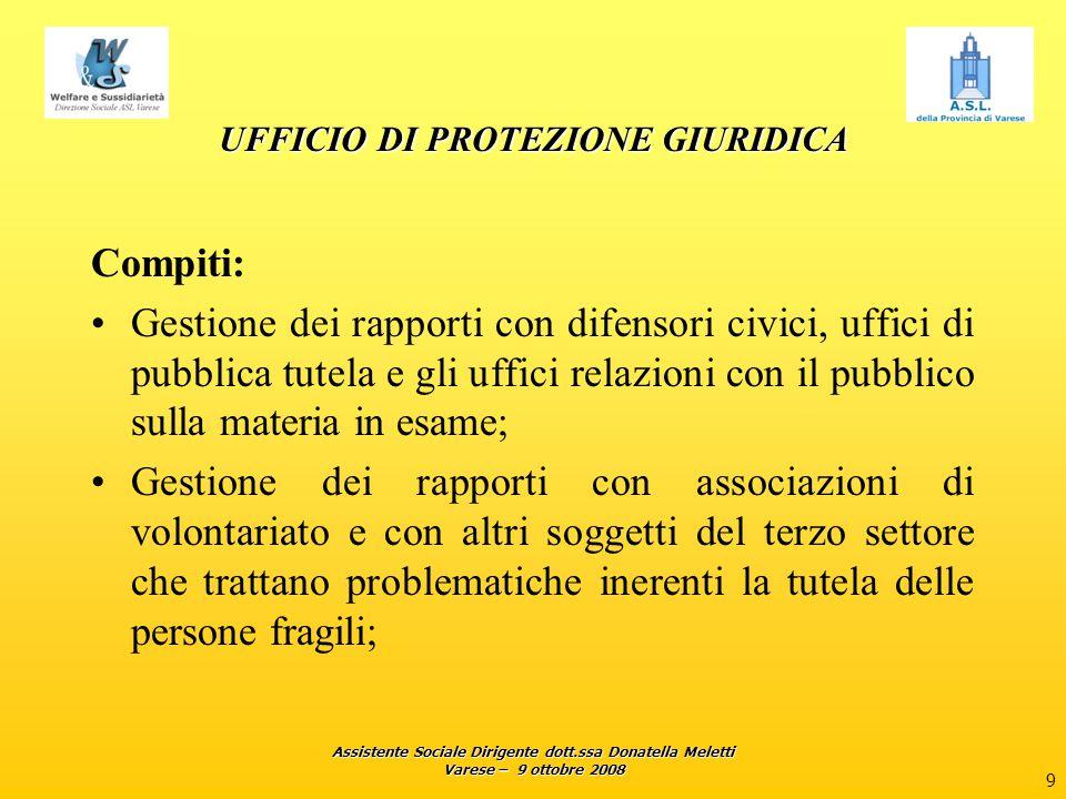 Assistente Sociale Dirigente dott.ssa Donatella Meletti Varese – 9 ottobre 2008 9 UFFICIO DI PROTEZIONE GIURIDICA Compiti: Gestione dei rapporti con d