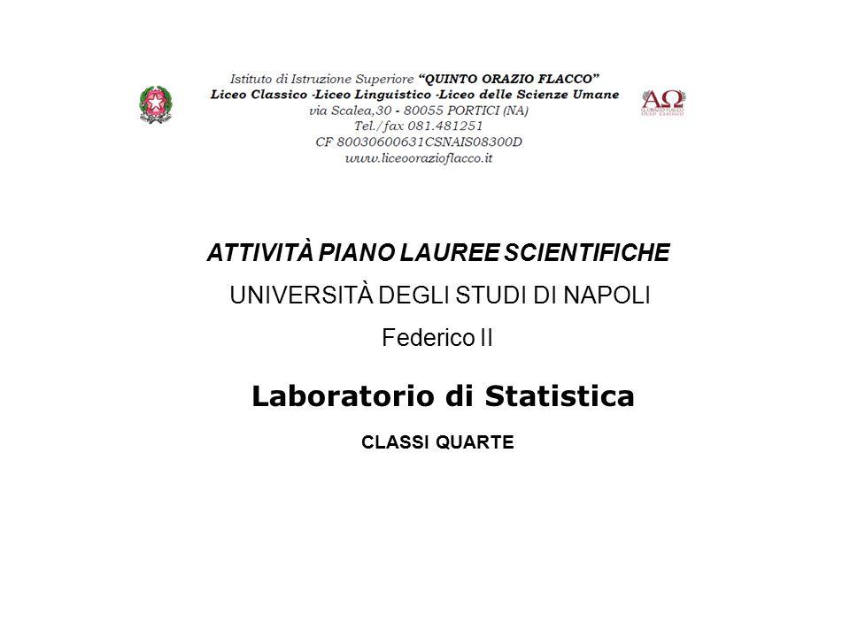 Laboratorio di Statistica ATTIVITÀ PIANO LAUREE SCIENTIFICHE UNIVERSITÀ DEGLI STUDI DI NAPOLI Federico II CLASSI QUARTE