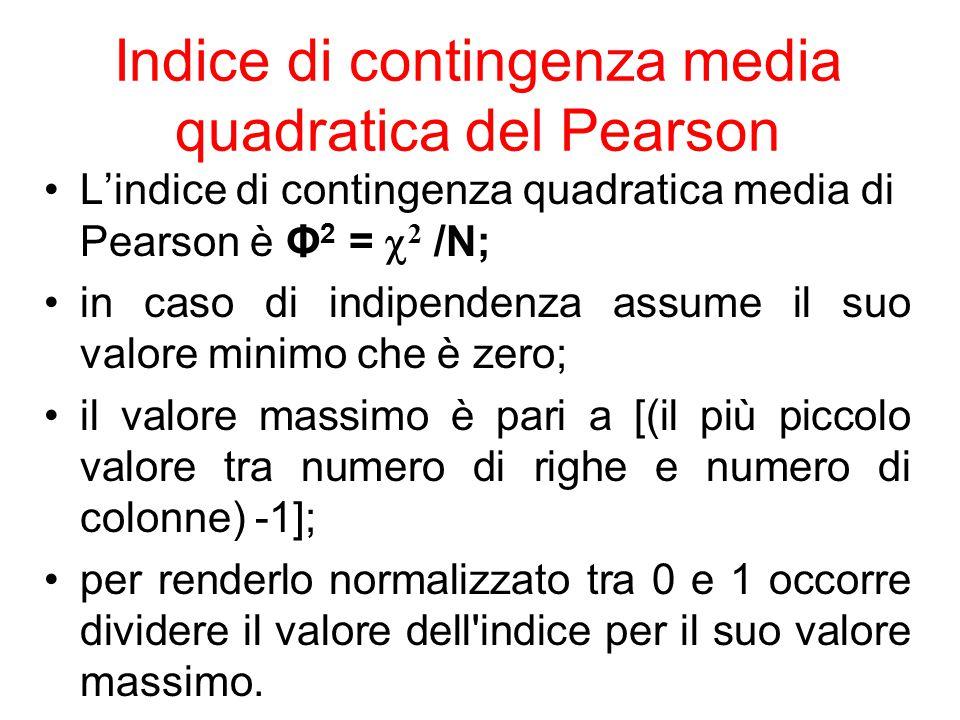 Indice di contingenza media quadratica del Pearson L'indice di contingenza quadratica media di Pearson è Φ 2 =  2 /N; in caso di indipendenza assume
