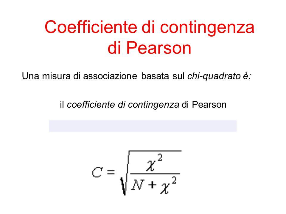 Coefficiente di contingenza di Pearson   =  2 /N (5) Una misura di associazione basata sul chi-quadrato è: il coefficiente di contingenza di Pears