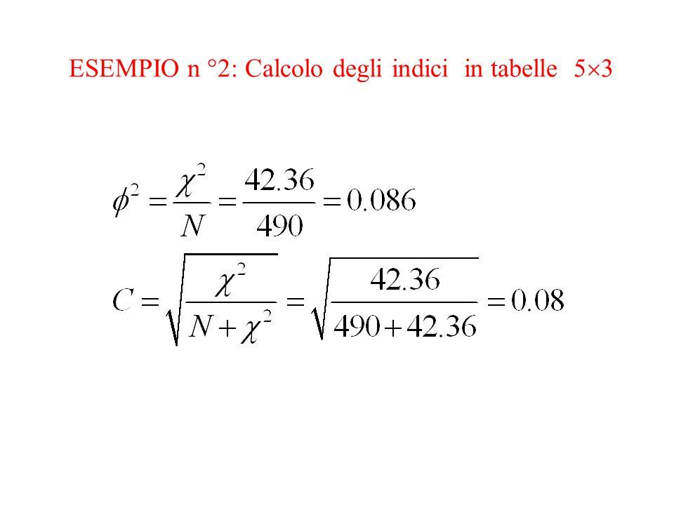 ESEMPIO n °2: Calcolo degli indici in tabelle 5  3