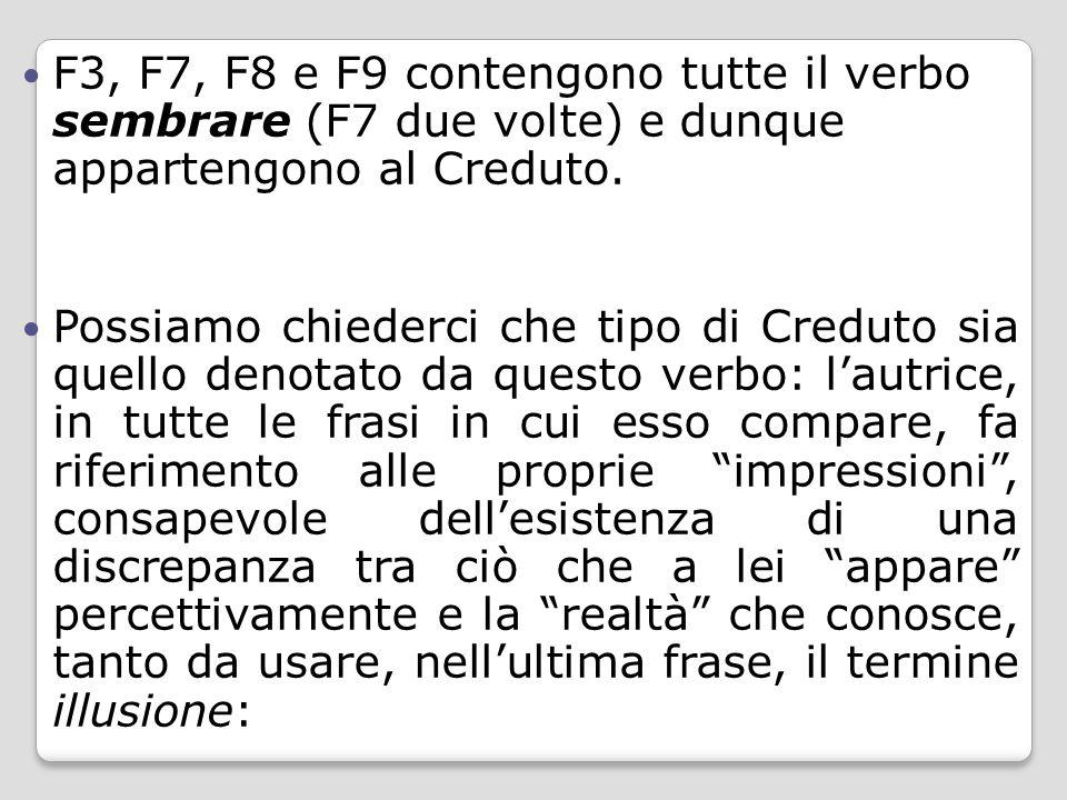 F3, F7, F8 e F9 contengono tutte il verbo sembrare (F7 due volte) e dunque appartengono al Creduto. Possiamo chiederci che tipo di Creduto sia quello
