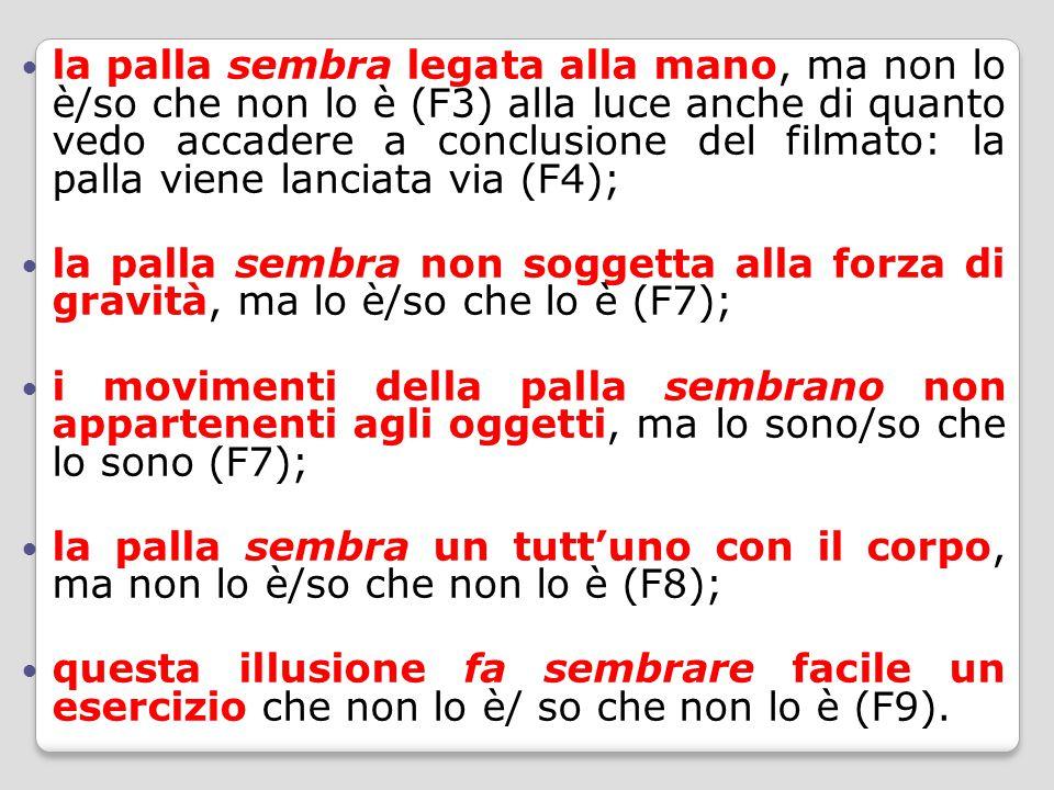 la palla sembra legata alla mano, ma non lo è/so che non lo è (F3) alla luce anche di quanto vedo accadere a conclusione del filmato: la palla viene lanciata via (F4); la palla sembra non soggetta alla forza di gravità, ma lo è/so che lo è (F7); i movimenti della palla sembrano non appartenenti agli oggetti, ma lo sono/so che lo sono (F7); la palla sembra un tutt'uno con il corpo, ma non lo è/so che non lo è (F8); questa illusione fa sembrare facile un esercizio che non lo è/ so che non lo è (F9).