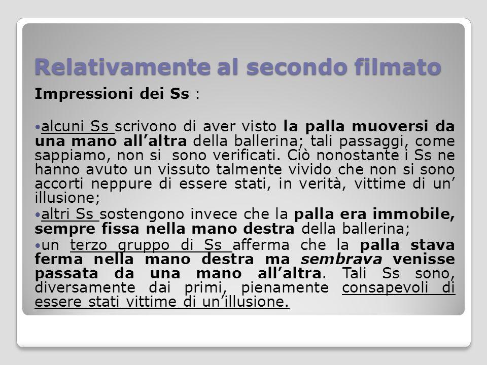 Relativamente al secondo filmato Impressioni dei Ss : alcuni Ss scrivono di aver visto la palla muoversi da una mano all'altra della ballerina; tali p