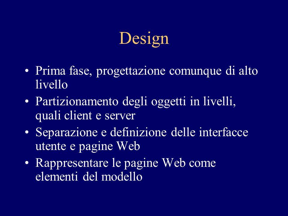 Design Prima fase, progettazione comunque di alto livello Partizionamento degli oggetti in livelli, quali client e server Separazione e definizione de