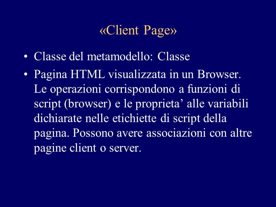«Client Page» Classe del metamodello: Classe Pagina HTML visualizzata in un Browser. Le operazioni corrispondono a funzioni di script (browser) e le p
