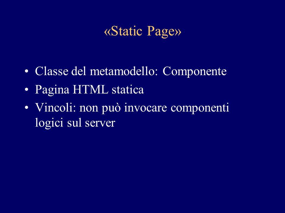 «Static Page» Classe del metamodello: Componente Pagina HTML statica Vincoli: non può invocare componenti logici sul server