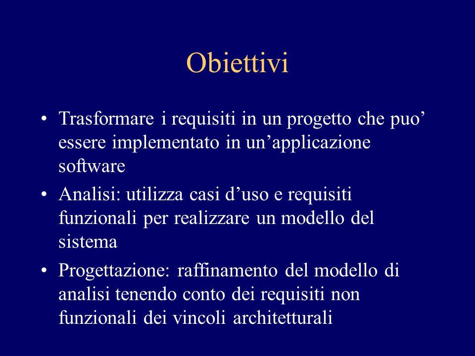 Obiettivi Trasformare i requisiti in un progetto che puo' essere implementato in un'applicazione software Analisi: utilizza casi d'uso e requisiti fun