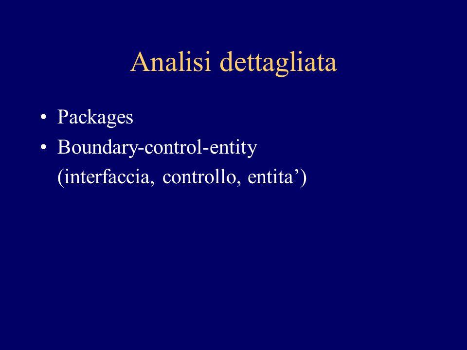 Design Obiettivo: raffinare il modello di analisi in modo che possa essere implementato con i componenti dell'architettura Raffinamento classi, introduzione di classi di servizio Vista dei componenti