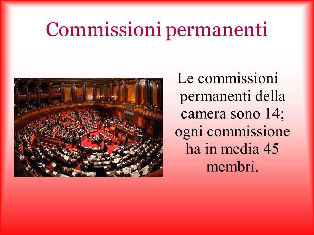 Commissioni permanenti Le commissioni permanenti della camera sono 14; ogni commissione ha in media 45 membri.