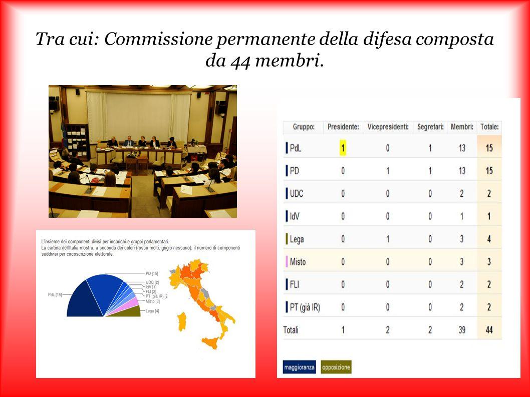 Tra cui: Commissione permanente della difesa composta da 44 membri.