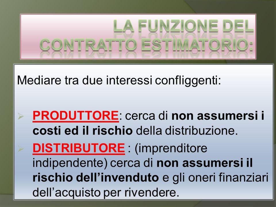 Mediare tra due interessi confliggenti:  PRODUTTORE: cerca di non assumersi i costi ed il rischio della distribuzione.  DISTRIBUTORE : (imprenditore
