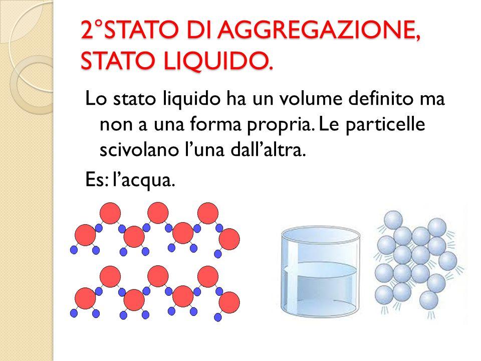2°STATO DI AGGREGAZIONE, STATO LIQUIDO. Lo stato liquido ha un volume definito ma non a una forma propria. Le particelle scivolano l'una dall'altra. E